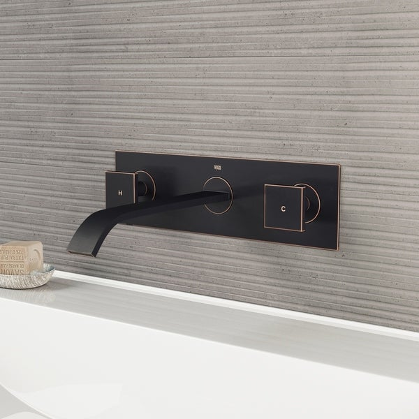 VIGO Titus Antique Rubbed Bronze Wall Mount Bathroom Faucet and Pop-up