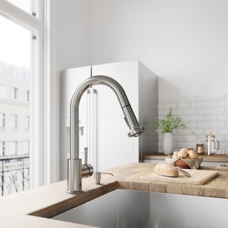 VIGO Harrison Stainless Steel Pull-Down Spray Kitchen Faucet with Soap Dispenser