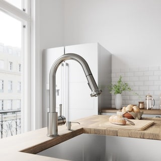VIGO Harrison Stainless Steel Pull-Down Spray Kitchen Faucet with Soap Dispenser - Stainless Steel