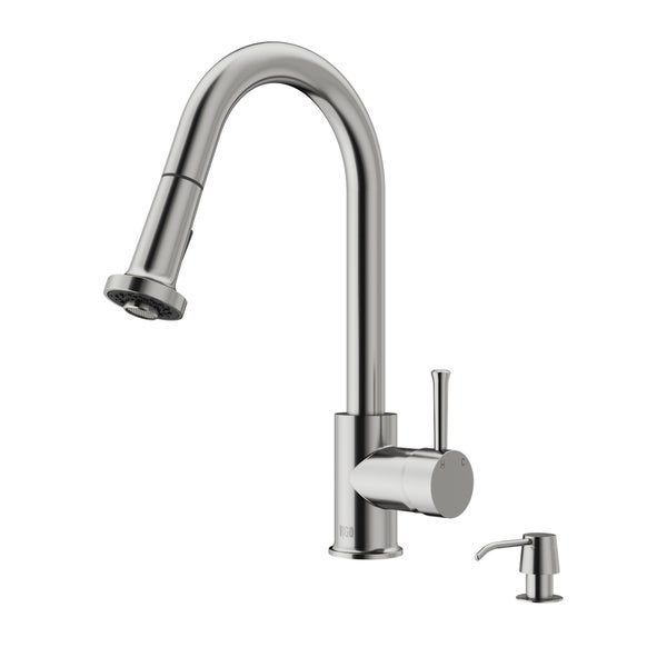 Attrayant VIGO Harrison Stainless Steel Pull Down Spray Kitchen Faucet With Soap  Dispenser   STAINLESS STEEL