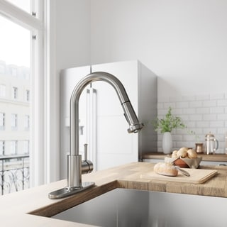 VIGO Harrison Stainless Steel Pull-Down Kitchen Faucet with Deck Plate