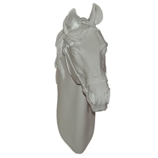 15-inch White Horse Ceramic Wall Plaque