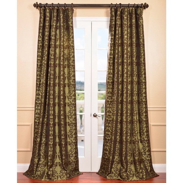 Exclusive Fabrics Firenze Fern Flocked Faux Silk Curtain Panel