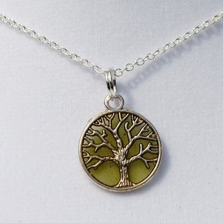 Green Tree of Life Pendant Necklace