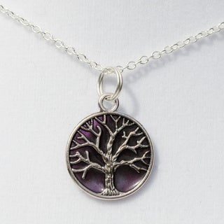 Purple Tree of Life Pendant Necklace