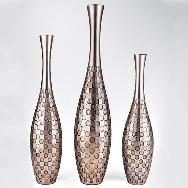 Silvertone Polka Dot Embossed 3-piece Vase Set