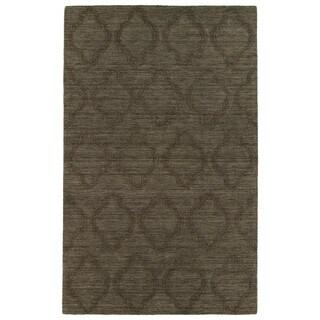 Chocolate Brown Modern Printed Wool Rug (2' x 3')