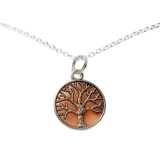 Orange Tree of Life Pendant Necklace