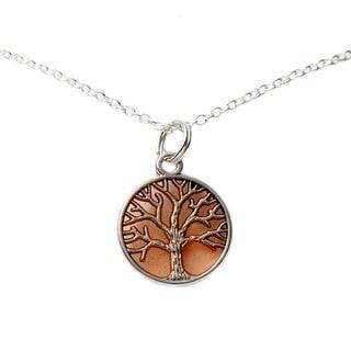 Orange Tree of Life Pendant Necklace