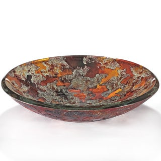 Molten Stone Abstract Motif Glass Sink Bowl