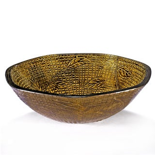 Leaf Motif Check-textured Yellow Glass Sink Bowl