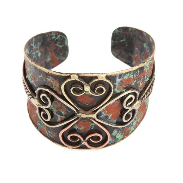 Handmade Brass Patina Coated Four Heart Motif Cuff Bracelet (India)