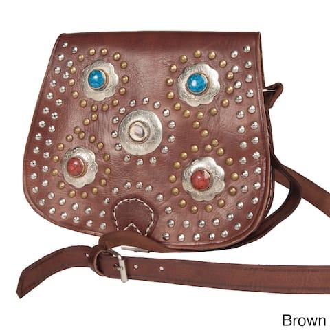 Handmade Bahia Crossbody Leather Medallion Bag (Morocco)