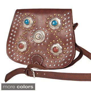 Handmade Bahia Crossbody Leather Medallion Bag (Morocco)