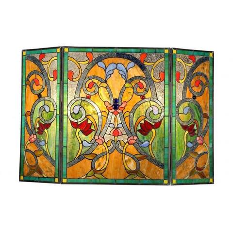 Tiffany-Style Victorian Design Fireplace Screen - N/A