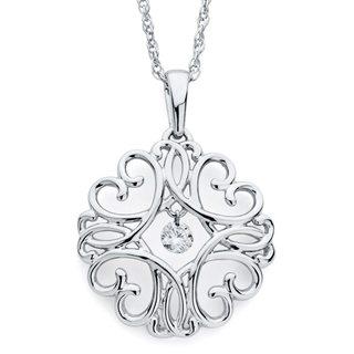 Brilliance in Motion Sterling Silver .07ct TDW Diamond Filigree Medallion Pendant w/ Chain