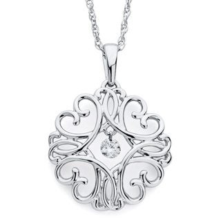 Brilliance in Motion Sterling Silver .07ct TDW Diamond Filigree Medallion Pendant w/ Chain