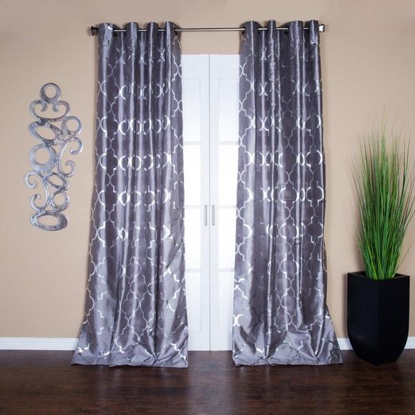Lambrequin Casablanca Modern Metallic Trellis Pattern Curtain Panel