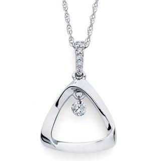 Brilliance in Motion Sterling Silver 1/10ct TDW Diamond Open Triangle Pendant w/ Chain