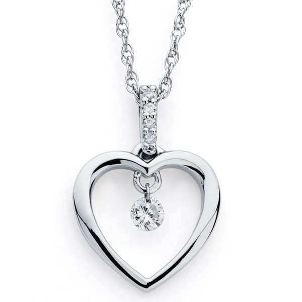 Boston Bay Diamonds 925 Silver 1/10ct TDW Brilliance in Motion Diamond Open Heart Pendant Necklace (I,I1)