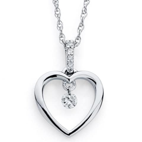 Brilliance in Motion Sterling Silver .10ct TDW Diamond Open Heart Pendant w/ Chain