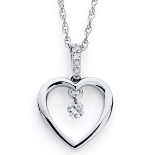 Boston Bay Diamonds Silver 1/10ct TDW Floating Diamond Open Heart Necklace (H-I, I1-I2)