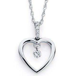 Boston Bay Diamonds Silver 1/10ct TDW Floating Diamond Open Heart Necklace (H-I, I1-I2)