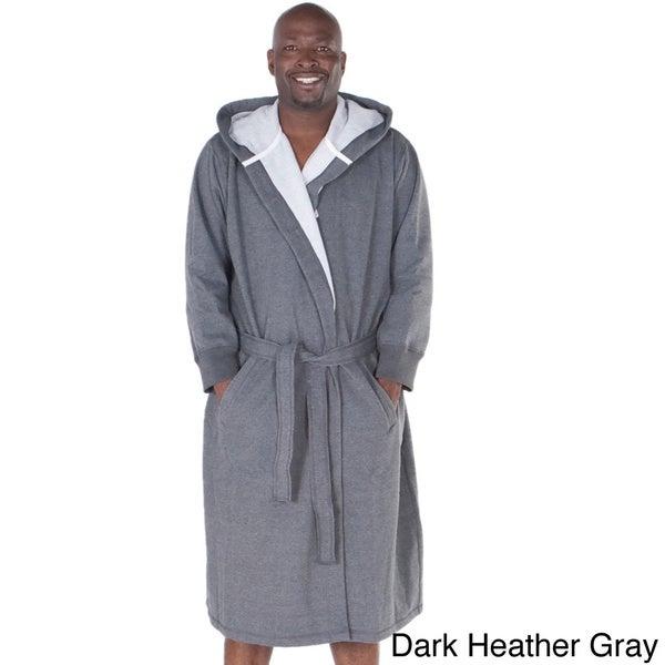 Del Rossa Men's Sweatshirt Style Fleece-Lined Cotton Bath Robe