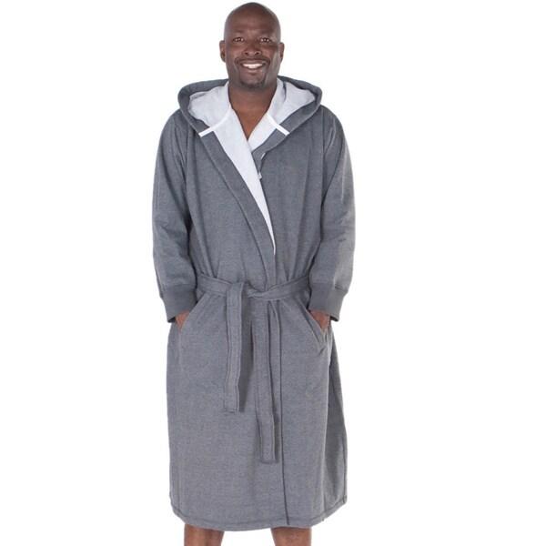 900194f3563 Shop Del Rossa Men s Sweatshirt Style Fleece-Lined Cotton Bath Robe ...