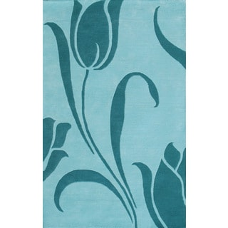 Floral Light Blue Rug (5 x 8)