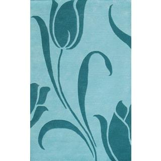 Floral Light Blue Rug (5 x 8)
