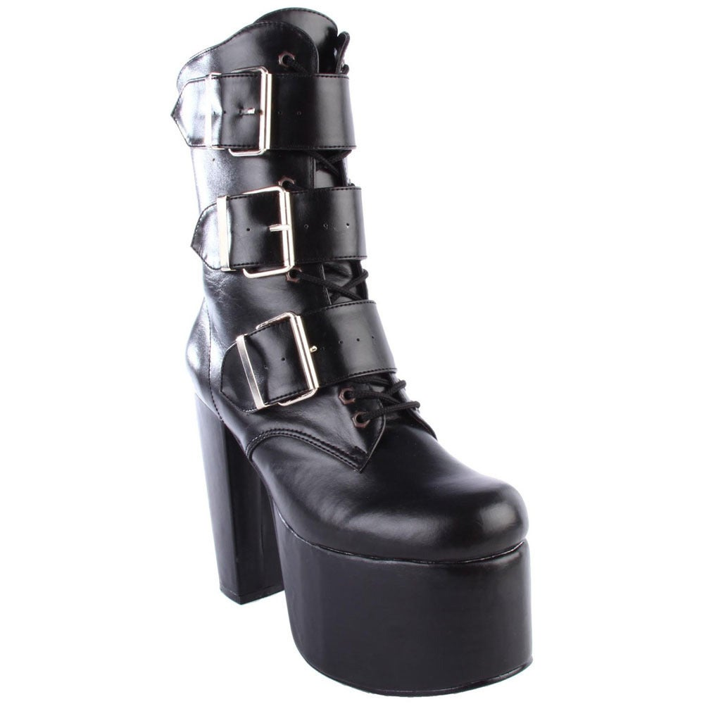 Demonia Torment-703' Women's Lace-up Ankle Boots (8), Bla...