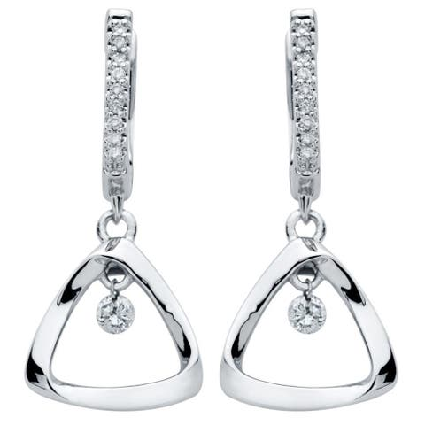 Brilliance in Motion Sterling Silver 1/6ct TDW Diamond Triangle Earrings