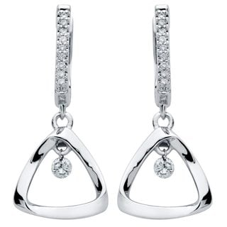 Brilliance in Motion Sterling Silver 1/6ct TDW Diamond Triangle Earrings - White
