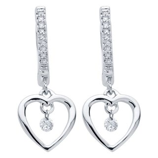 Boston Bay Diamonds Sterling Silver 1/6 Floating Diamond Open Heart Earrings (H-I, I1-I2)
