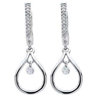 Brilliance in Motion Sterling Silver 1/6ct TDW Diamond Tear Drop Earrings - N/A