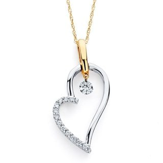 Boston Bay Diamonds 14k Two-tone Gold 1/5ct TDW Floating Diamond Heart Necklace (H-I, I1-I2)