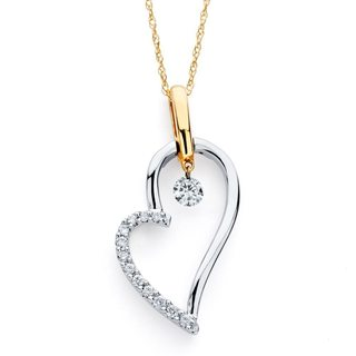 Brilliance in Motion 14k Two-tone Gold .20ct TDW Diamond Heart Pendant w/ Chain
