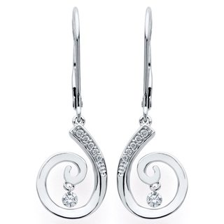 Brilliance in Motion 14K White Gold 1/7ct TDW Diamond Swirl Earrings - N/A