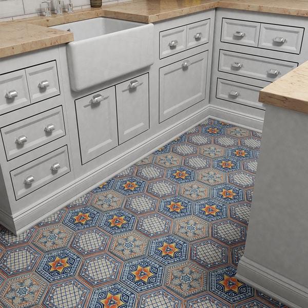 SomerTile 7 x 8-inch Hextile Basilica Pepe Decor Porcelain Floor and Wall Tile (1 Each)
