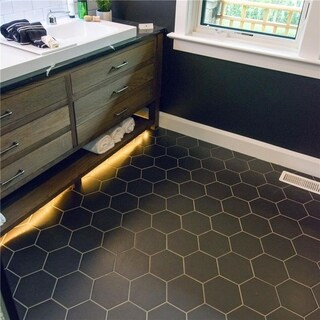 SomerTile Hexatile Matte Nero Black Porcelain Floor and Wall Tile (Case of 14)