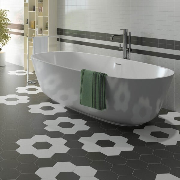 Somertile 7x8 Inch Hexatile Matte Nero Black Porcelain