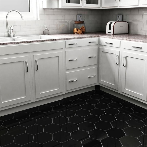 Shop Somertile 7x8 Inch Hextile Matte Nero Porcelain Floor And Wall