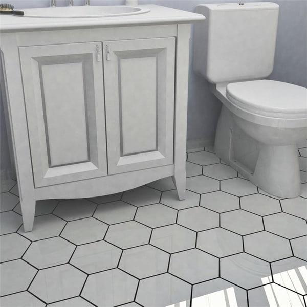 Somertile hextile matte white porcelain floor and wall for Matte bathroom tiles