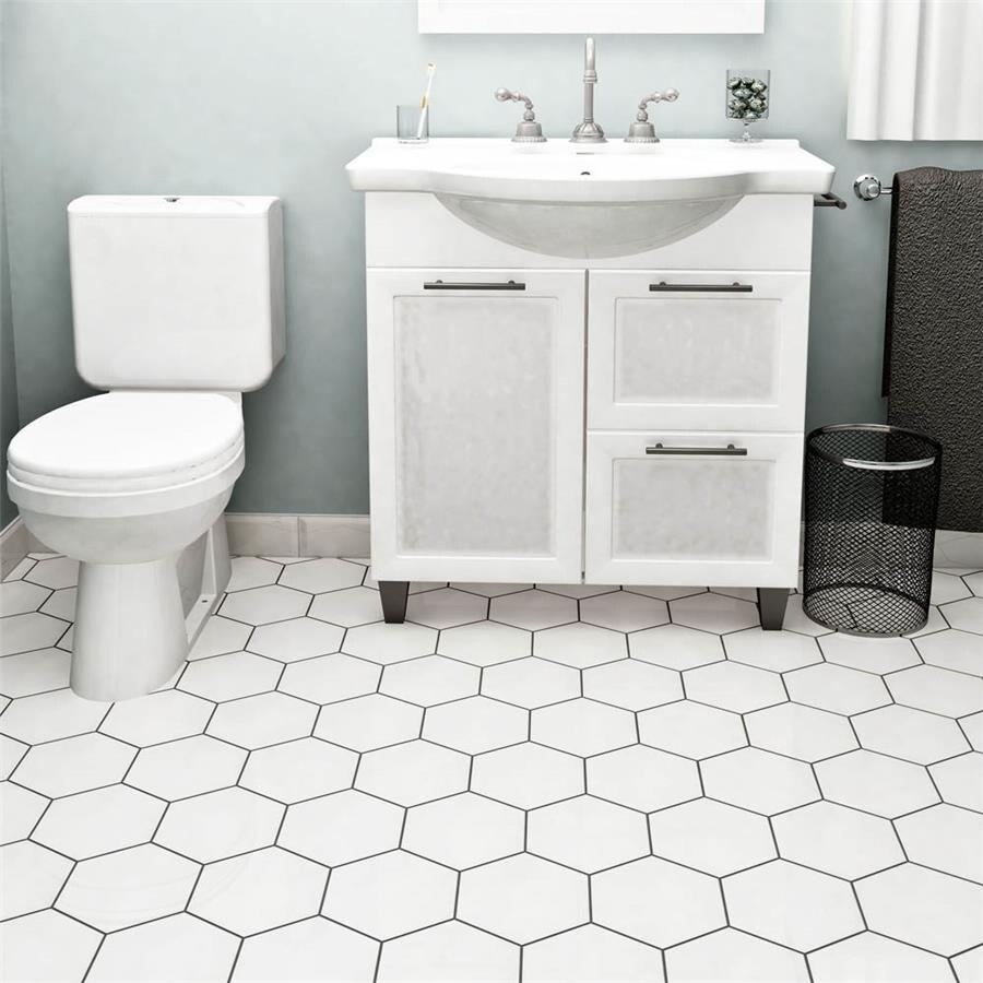 Somertile 7 x 8-inch Hextile Glossy Blanco Ceramic Floor ...