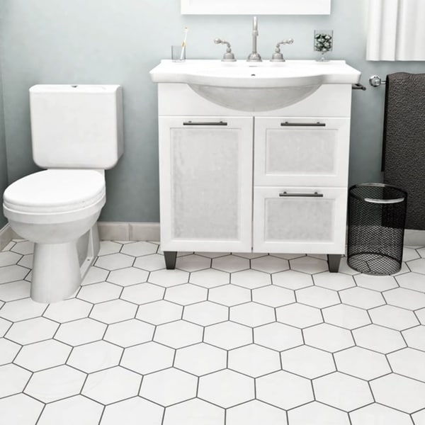 SomerTile 7 x 8-inch Hextile Glossy Blanco Ceramic Floor and Wall Tile (Case of 14)