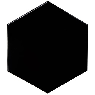 SomerTile 7 x 8-inch Hextile Glossy Black Ceramic Floor and Wall Tile (Case of 14)