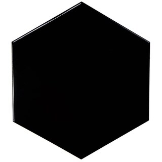 SomerTile 7x8-inch Hextile Glossy Black Ceramic Floor and Wall Tile (14 tiles/4.4 sqft.)