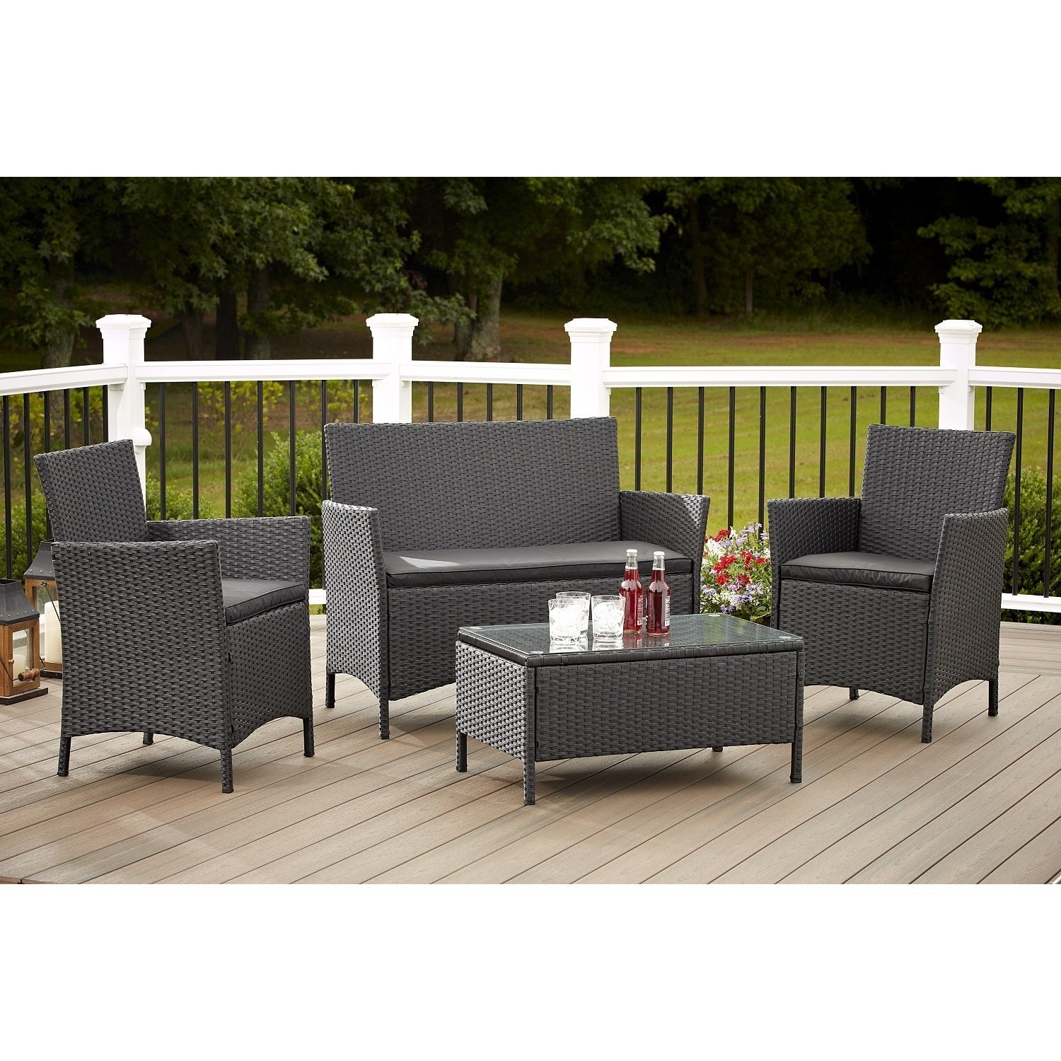 Avenue Greene 4 Piece Resin Wicker Deep Seating Patio Conversation