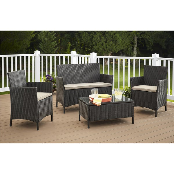 cosco outdoor jamaica 4 piece resin wicker conversation set 15742541